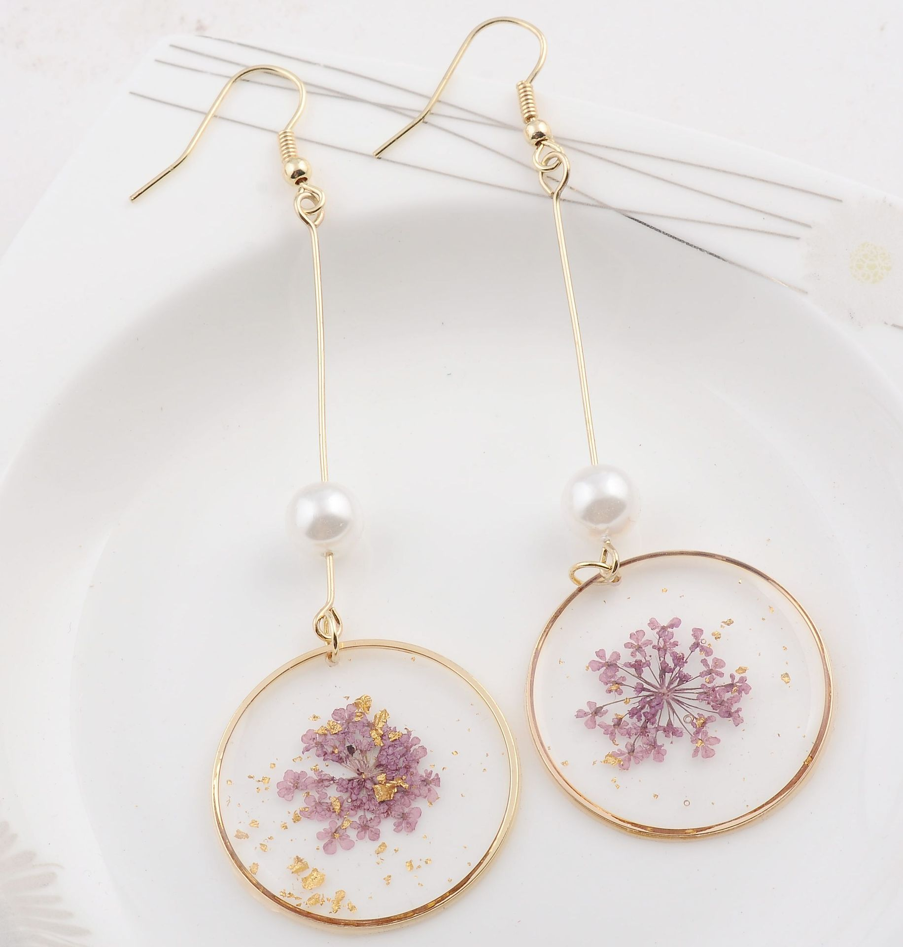 UJBOX Japan Korea Round Transparent Resin Flowers Earrings Women Simulated pearl Long Party Statement Earrings(China)