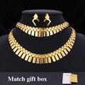 Banhado a ouro áfrica choker colar pulseira brincos set para as mulheres hot moda jóias & caixa de presente conjunto de jóias africano neh351