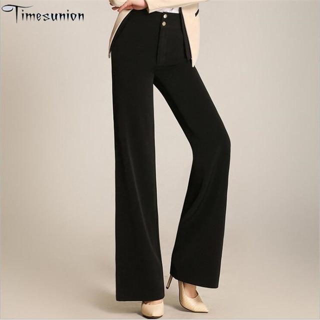 Autumn Winter women's wide leg pants Loose fashion high waist Plus size 4xl 5xl 6xl women pants Solid Long Trousers Formal work