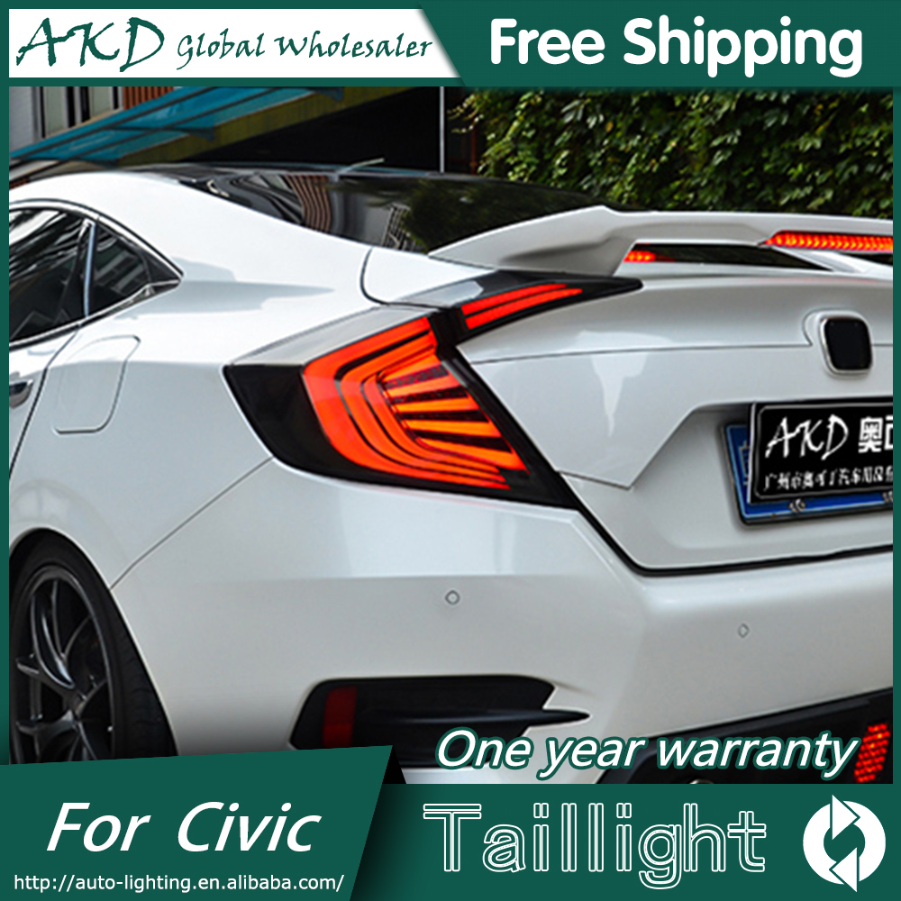 AKD Car Styling tail lights for Honda Civic 2016 taillights LED Tail Lamp rear trunk lamp cover drl+signal+brake+reverse car styling car rear bumper trims for honda civic 2016 2017 2018