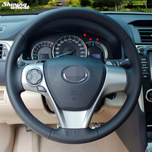 Shining wheat Hand-stitched Black Leather Steering Wheel Cover for Toyota Camry 2012
