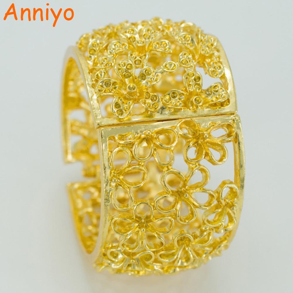 Anniyo Flowers Pulsera grande para mujer, flor de color dorado brazalete grande con joyería de primavera GP de moda # 041006