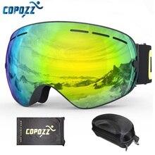 COPOZZ Ski Goggles with Goggles Case Double Lens UV400 Anti fog Ski Glasses Men Women Spherical