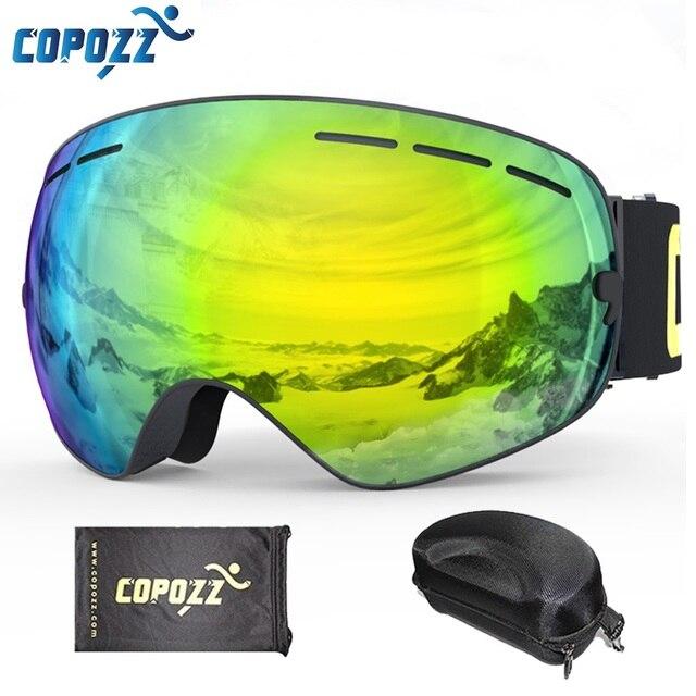 COPOZZ Ski Goggles with Goggles Case Double Lens UV400 Anti-fog Ski Glasses Men Women Spherical Skiing Snowboard Snow Goggles