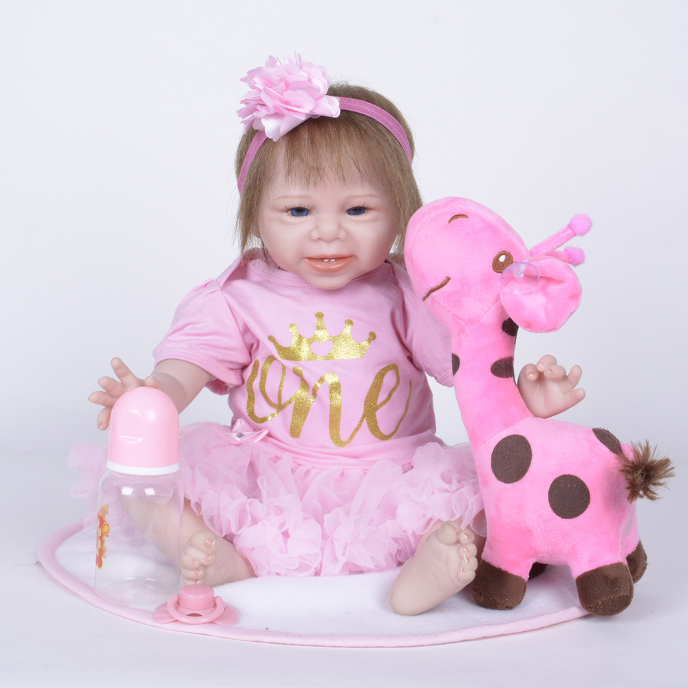 22 inches Lovely Reborn Girl Doll Soft Silicone Cloth Body Newborn Baby Toy for Children Birthday Christmas Xmas Gift
