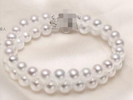 Livraison gratuite vente chaude nouveau Style>>>> double brins 8-9mm mer du sud blanc rond perle braclet 7.5-8 pouces 925 s