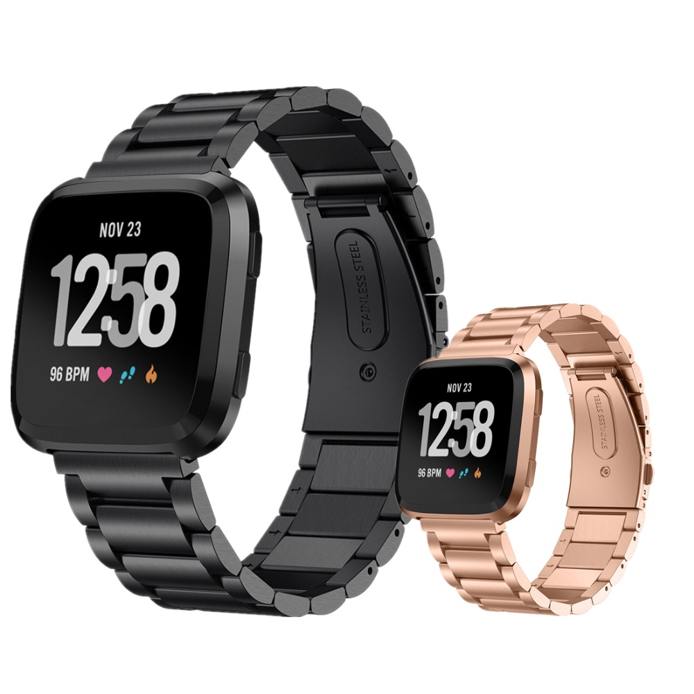 Bracelet Strap For Fitbit Versa band Stainless Steel metal Link Wristband Watchband For Fitbit Versa Smart watch accessories smart watch usb charging box cable for fitbit versa
