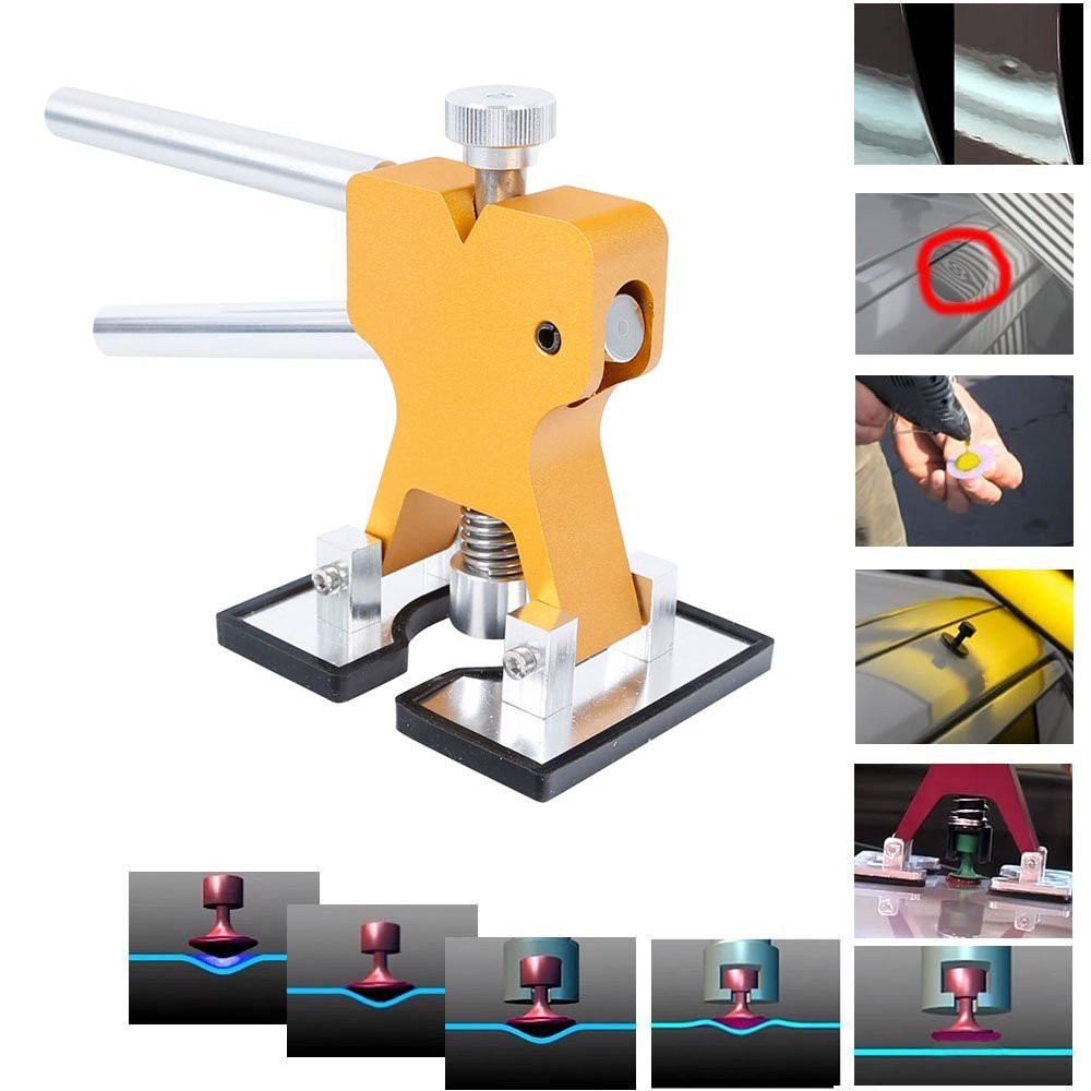 Auto Body Paintless Dent Removal Repair Tool Kits Glue Puller Dent Lifter with 5 Size Plastic PDR Glue Tabs PDR Dent Tabs