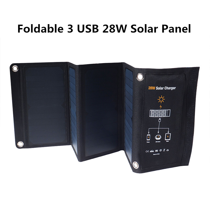 Portable 3 USB 5V 28W Solar Panel For IOS Android Cell Phones Tablet PC Foldable Solar Battery Smart Solar Charger