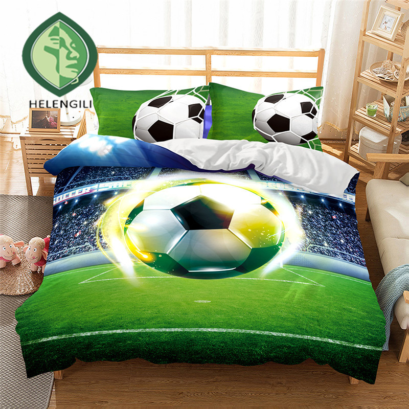 HELENGILI 3D Bedding Set Football Print Duvet Cover Set Lifelike Bedclothes With Pillowcase Bed Set Home Textiles #2-5
