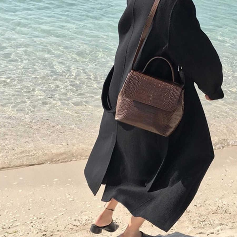 De cocodrilo bolsos de las mujeres patrón de cocodrilo bolsas de mensajero de las mujeres de cuero de la PU de hombro Crossbody bolsa mujeres bolso gran oferta