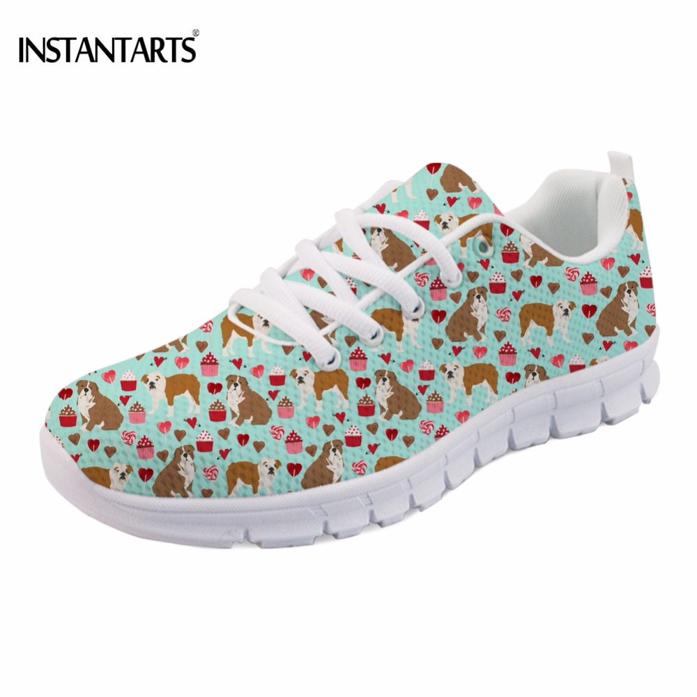 INSTANTARTS Fashion Girls Spring/Summer Mesh Flats Shoes Cute Puppy English Bulldog Print Women Flat Shoes Comfortable Sneakers муфта шланг шланг raco original 4250 55212c