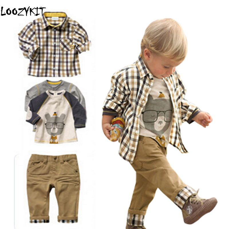 Loozykit Baby Boys Clothing Sets Spring Autumn Clothes Sets Long Sleeve T-shirt + Shirt Coat +Pant 3pcs Kids Boys Casual ClothLoozykit Baby Boys Clothing Sets Spring Autumn Clothes Sets Long Sleeve T-shirt + Shirt Coat +Pant 3pcs Kids Boys Casual Cloth