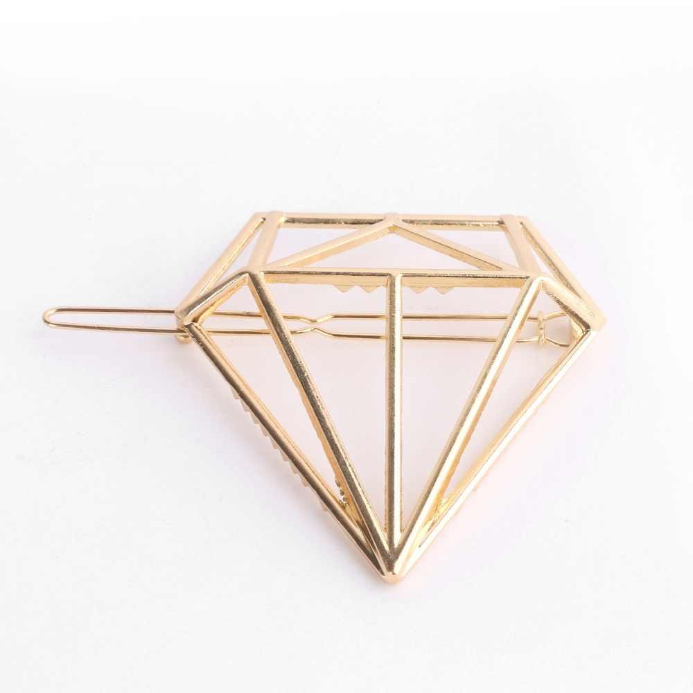 1 piezas Venta caliente mujeres oro plata geometría horquilla accesorios para el cabello diamantes Arco-Nudo gatos geometría