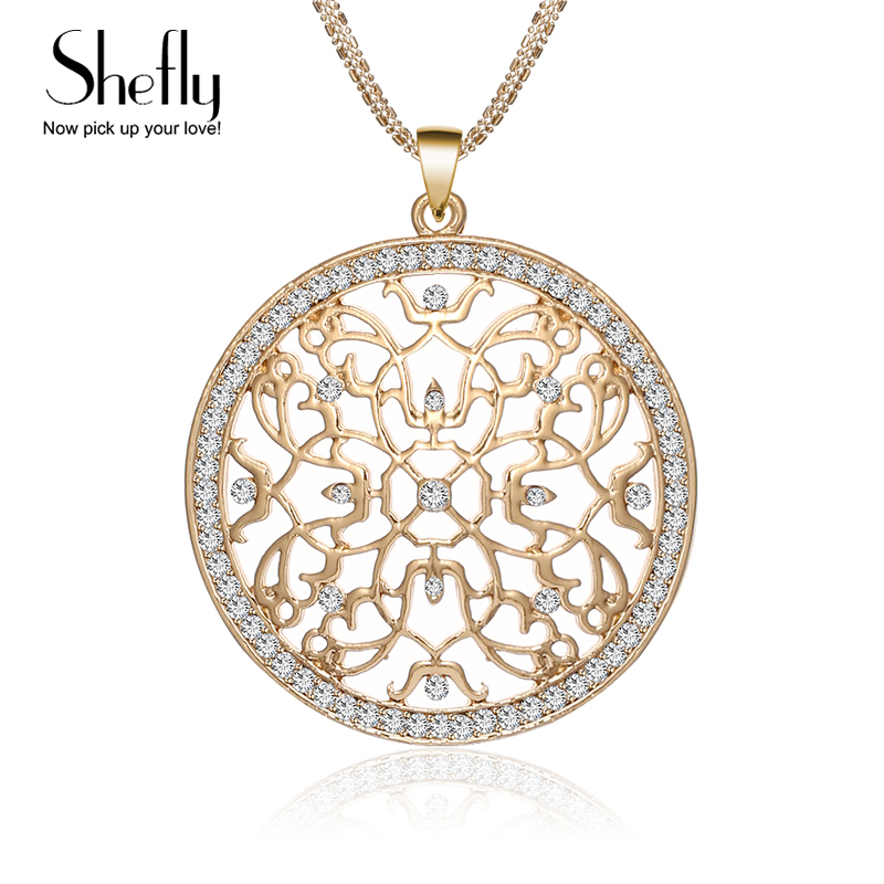 2018 CZ Crystal Charm Flower Necklace Kolye Women Vintage Multi Chain Silver Gold Color Maxi Pendants & Necklaces New Year Gifts