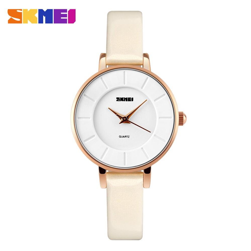 SKMEI простые женские часы Топ Элитный бренд кожаный ремешок Для женщин кварцевые часы женские наручные часы для женщи женские наручные часы