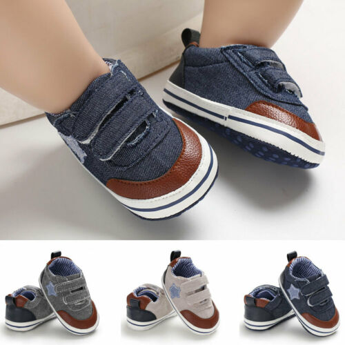 Baby Soft Sole Crib Shoes Leather Grey Walking Shoes Infant Boy Girl Toddler Shoes Anti-Slip 0-18 Months Toddler Crib Shoes