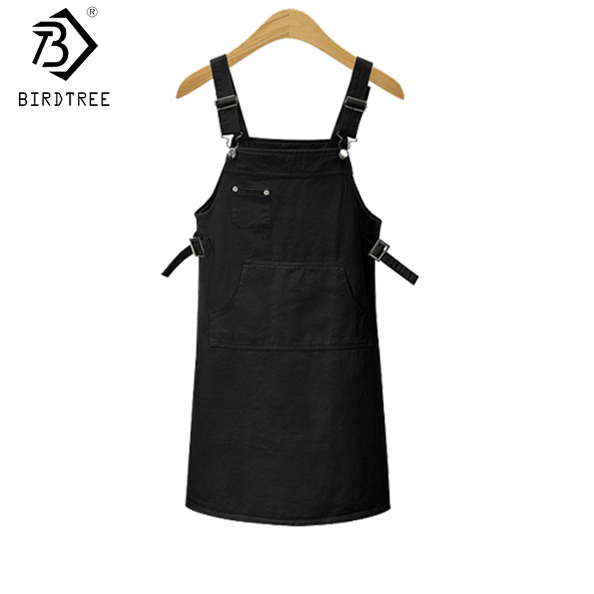 Black Square Sleeveless Dress Pockets Front Cord Overall Dress Woman 2017 Summer Above Knee Length Straight Dresses Hot D7N702A ...