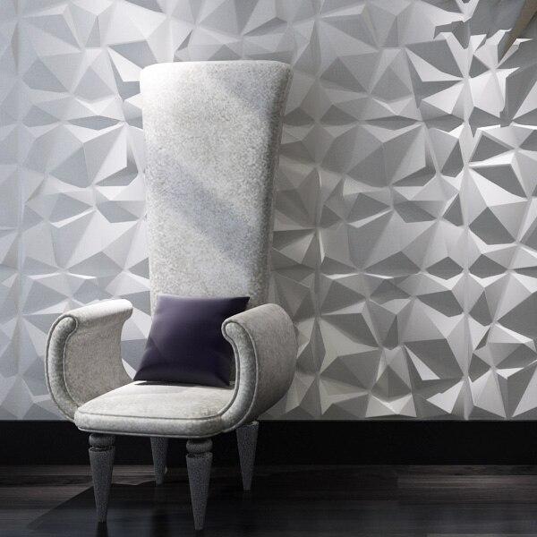 Diamant 3D Texturé Mur Panneaux 12 pcs 3D Illuminative Revêtement Mural 32.29 Sq. Ft