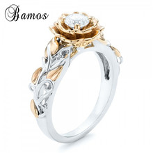 Bamos Gold Color Leaf & Flower Promise Ring Luxury Cubic