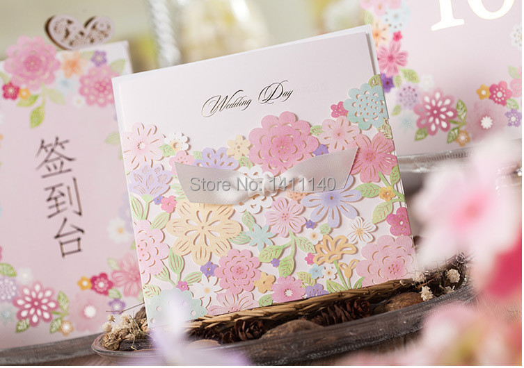 Spring Theme Laser Cut Colorful Flower Lace Wedding Invitation Card Come With Free Envelope And Seals Shipping 25pcs Lot In Cards Invitations From