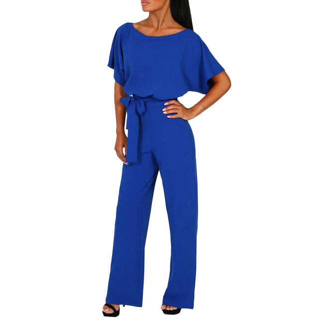 Rompers Jumpsuit Overalls For Women Elegant Office Style Short Sleeve Loose Straight Long Leg Sashes Kombinezony Robe Femme