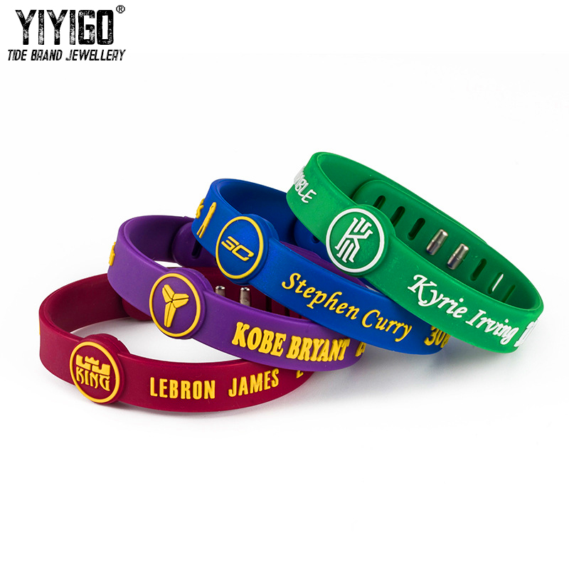 1PCS Kobe Adjustable Signature Silicone Bracelets Irving James Curry Lovers' Men Student Basketball Sport metal button Wristband