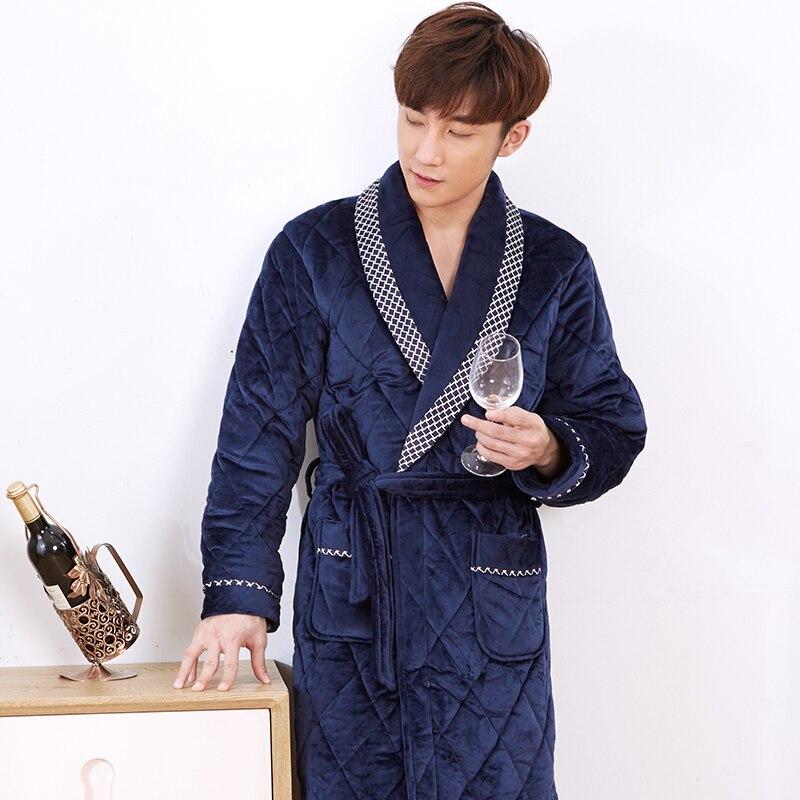 J Q New Bathrobe For Men Badjas Velvet Cotton Padded Robe Kimono Men Bata Hombre Winter