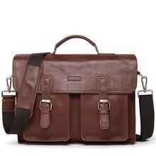 Vintage Men Briefcase Bags Genuine Leather Shoulder Handbags Brown Solid Briefcases for Man Bag Casual Waterproof Handbag Bags