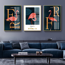 New!Modern Minimalist Abstract Golden Flamingo Decorative Painting Hotel Crystal Porcelain Wall Picture Arts Home Decor