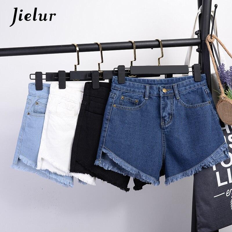Jielur Summer 2019 New 4 Colors S-XXL All-match Tassel Short   Jeans   Women Basic Black White   Jeans   Fashion Slim Blue Denim Shorts