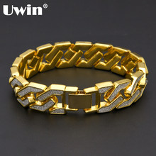 Uwin Charm Sand Blast Bracelet Cuban Chain Gold&Silver Stone Hiphop Men Bling 8.5'' Bracelets Fashion Jewelry Wholesale Gifts(China)