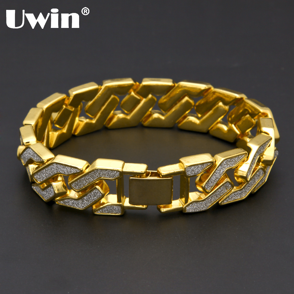 Uwin Charm Sand Blast Bracelet Cuban Chain Gold&Silver Stone Hiphop Men Bling 8.5'' Bracelets Fashion Jewelry Wholesale Gifts