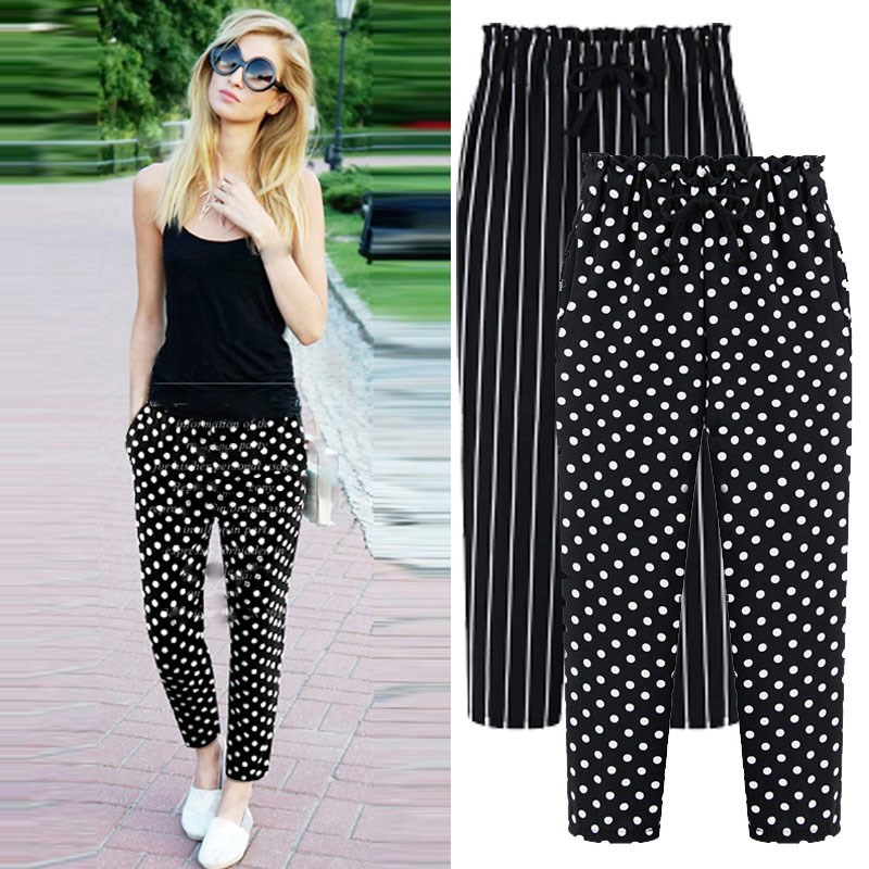 2019 Summer Women Plus Size Casual Trousers Ankle-Length Harem   Pants   Fashion Dot Print Chiffon Striped   Pants