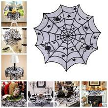 Halloween Lace Spider Web Tablecloth 40 inch Round Table topper Covers Halloween Table Decoration Fireplace Scarf(China)