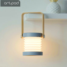 Artpad High Quality LED Desktop Lamp Lantern Night Light Touch Dimmer USB Poer Rechargeable White and Wood Table