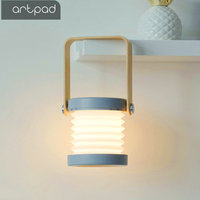 Artpad High Quality LED Desktop Lamp Lantern Night Light Touch Dimmer USB Poer Rechargeable White and Wood Table Lamp