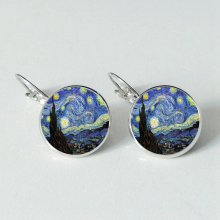 Fashion Van Gogh Art Painting Series Earings Starry Night Crystal Glass Cabochon for Mens Wearable