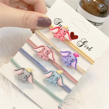 5Pcs New Korean Elastic Hair Bands Lovely Fly Elephants Headbands Cute Girls Accessories Bow Knot Acrylic Rubber Ties