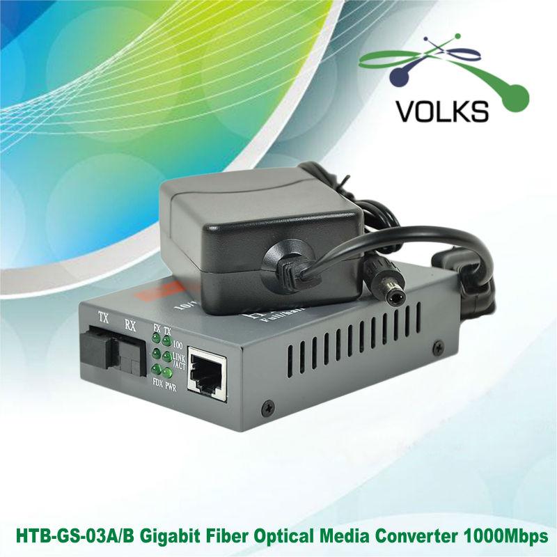1 Pair HTB-GS-03 A//B Gigabit Fiber Optical Media Converter 1000Mbps 20KM
