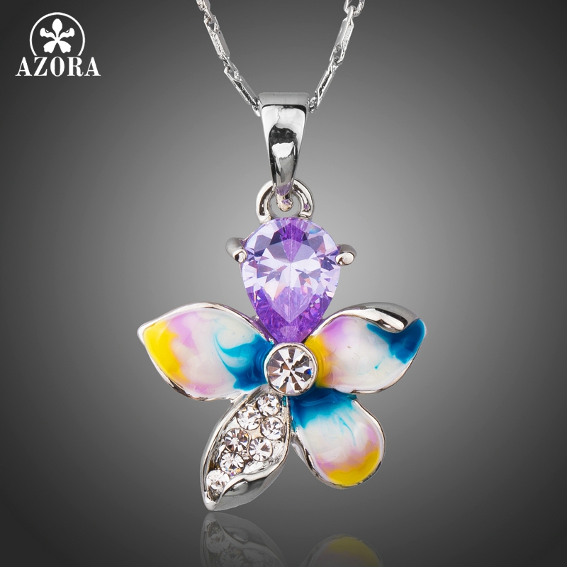 AZORA Oil Painting Purple Cubic Zirconia Rhinestones Bright Flower Drop Pendant Necklace TN0190