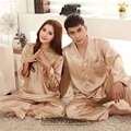 2016 Spring Summer Autumn Chinese Satin Silk Pajamas Sets of Sleepcoat & Pants Couple Sleepwear Lover Nightdress & Home Clothing
