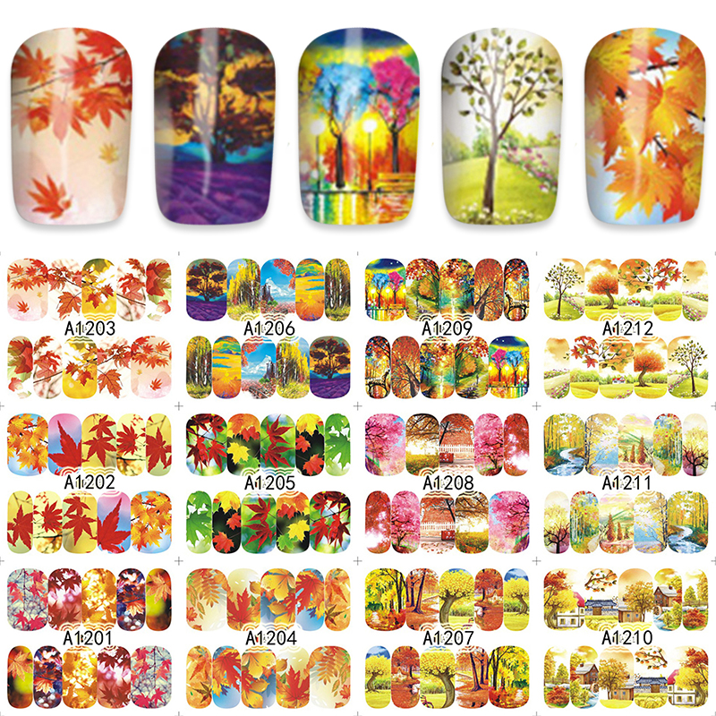 FWC Autumn Maple Leaf Water Stickers Nails Decoration Decals Nail Tools 12pcs/Lot A1201-1212 fwc hot diy designs nail art beauty flower water stickers nails decoration decals tools