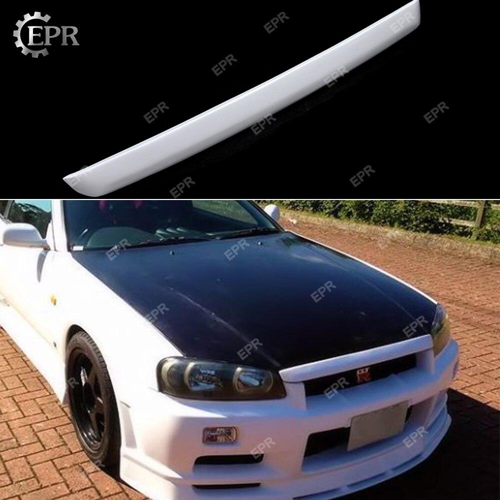 Pour Nissan Skyline R34 GTR FRP Fiber de verre avant capot lèvre capot lèvre corps Kit Tuning partie pour GTR R34 GTST Fiber de verre capot lèvre