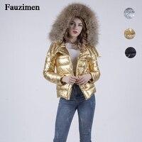 women`s waterproof ski jacket windproof down jacket with 90% white duck down real fur hooded coat warm winter short outwear