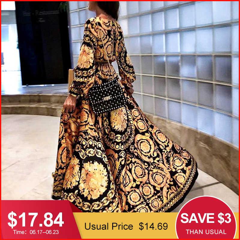 Glamaker винтажное сексуальное платье Бохо с разрезом женское летнее Элегантное макси платье с принтом длинный рукав Пейсли 2019 длинный халат вечерние Клубные платья
