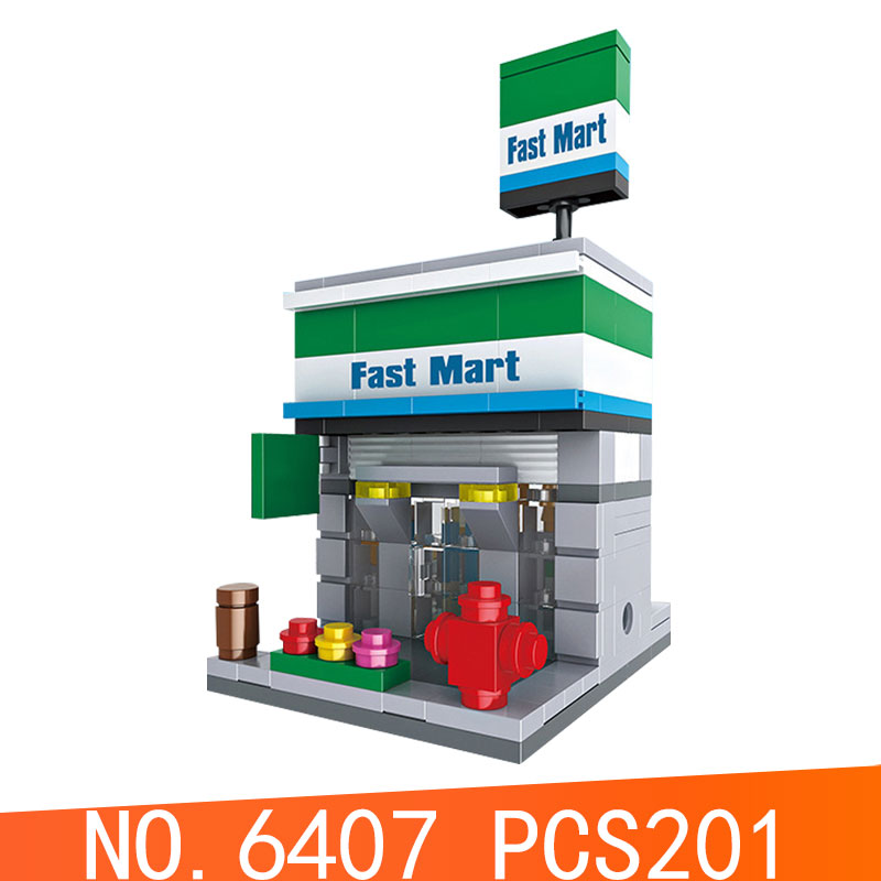 Blocks Lovely Legoe City Street View Series Hsh6407 Mini Fast Mart Shop Model Building Blocks Bricks Toys For Children Compatible With Legoing Special Buy