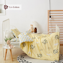 Liv-Esthete 2019 New 100% Cotoon Cute Elephant Kids Cartoon Blue Bedding Set Duvet Cover Pillowcase Bed Linen For Mom Baby 3Pcs