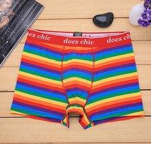 b75adb64b5ab New Style Underwear Striped Boxer Rainbow Color Stripe Cotton Fashion Brand  Men's Boxers Wholesale Manufacturers Sexy Underpants