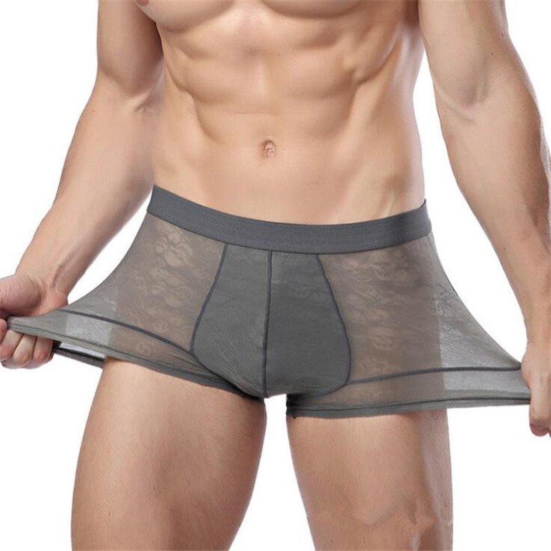 New Men's Boxer Underwear Bamboo Fiber Sexy Lace Transparent Boxer For Male Underwear Shorts Gift For A Man Panties Men's Bamboo